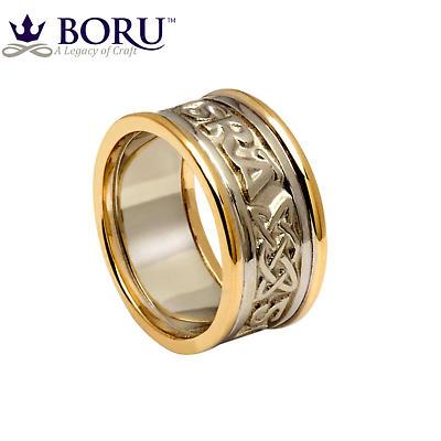 Irish Ring - Ladies White Gold with Yellow Gold Trim - Gra Go Deo 'Love Forever' Irish Wedding Ring