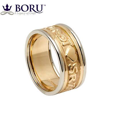 Irish Ring - Ladies Yellow Gold with White Gold Trim Gra Geal Mo Chroi 'Love of my heart' Irish Wedding Ring