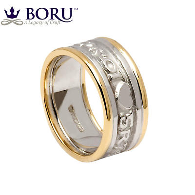 Irish Ring - Men's White Gold with Yellow Gold Trim Gra Geal Mo Chroi 'Love of my heart' Irish Wedding Ring