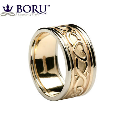 Celtic Ring - Ladies Yellow Gold with White Gold Trim Two Heart Celtic Knot Wedding Band