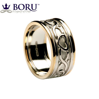 Celtic Ring - Ladies White Gold with Yellow Gold Trim Two Heart Celtic Knot Wedding Band