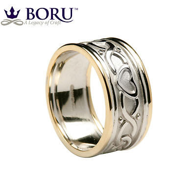 Celtic Ring - Men's White Gold with Yellow Gold Trim Two Heart Celtic Knot Wedding Band