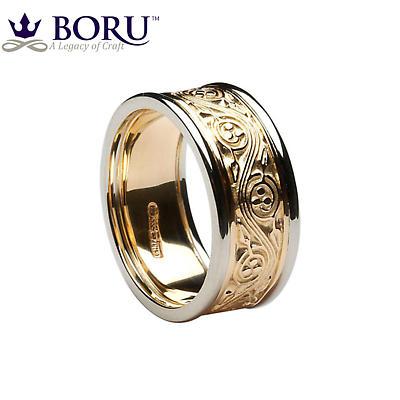 Irish Ring - Ladies Yellow Gold with White Gold Trim Triskele Weave Irish Wedding Ring