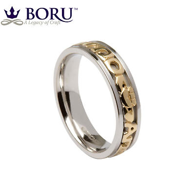 Mo Anam Cara Ring - Ladies White Gold with Yellow Gold Text Mo Anam Cara 'My Soul Mate' Signature Irish Wedding Band