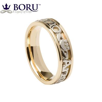 Mo Anam Cara Ring - Men's Yellow Gold with White Text Mo Anam Cara 'My Soul Mate' Irish Wedding Ring