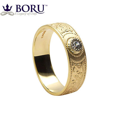 Celtic Ring - Men's Warrior Shield Wedding Ring Diamond