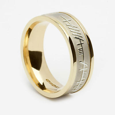 Irish Ring - Ladies Sterling Silver with 10k Yellow Gold Ogham Mo Anam Cara 'My Soul Mate' Irish Wedding Band