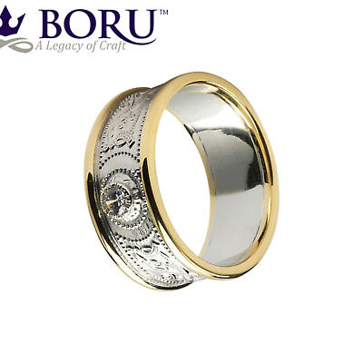 Celtic Ring - Men's White Gold with Yellow Gold Trim and Diamond Warrior Shield Wedding Ring