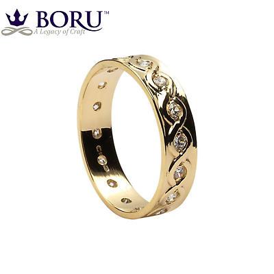 Celtic Ring - Men's Gold with Diamond Set Celtic Wedding Ring