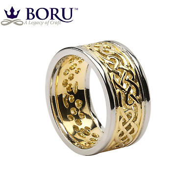 Celtic Ring - Men's Yellow Gold with White Gold Trim Filigree Celtic Wedding Band