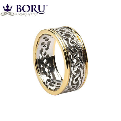 Celtic Ring - Men's White Gold with Yellow Gold Trim Filigree Celtic Wedding Band