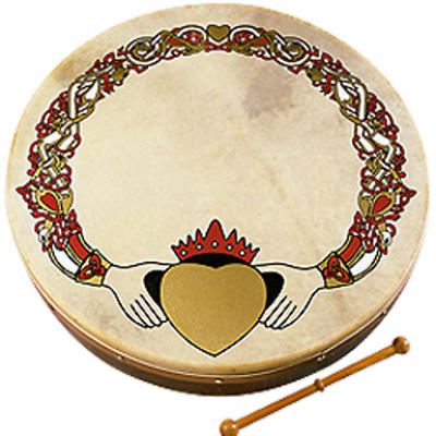 "Bodhran Drum - 8"" Claddagh Design"