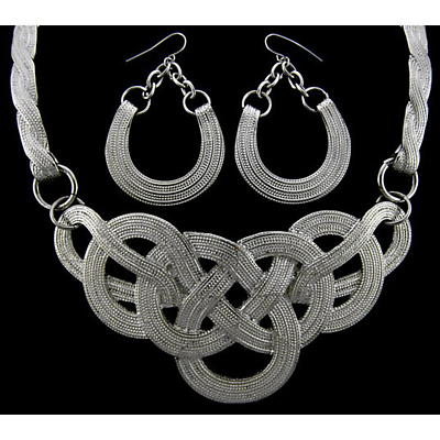 Celtic Jewelry Set - Silvertone Celtic Knot Necklace and Earring Set