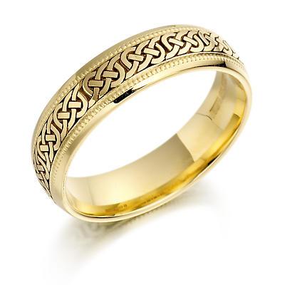 Irish Wedding Ring - Mens Gold Celtic Knots Beaded Wedding Band