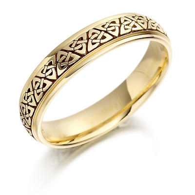 Irish Wedding Ring - Ladies Gold Trinity Knot Celtic Wedding Band