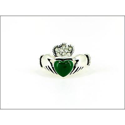 Claddagh Ring - Claddagh Stone Set Crown and Green Enamel Heart Stretch Ring