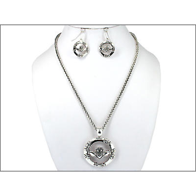 Claddagh and Shamrocks Necklace and Earring Set