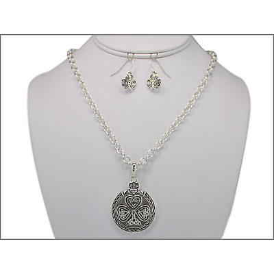 Shamrock and Claddagh Necklace and Earring Set