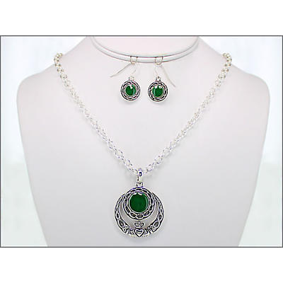 Celtic Jewelry Set - Stone Set Claddagh and Celtic Necklace and Earring Set