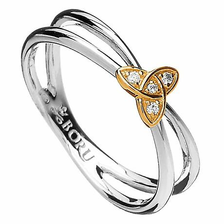 Irish Ring - 10k CZ Trinity Knot Split Silver Band Irish Wedding Ring