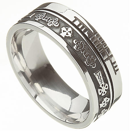 Celtic Ring - Comfort Fit 'Faith' Celtic Cross Irish Wedding Band