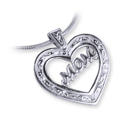 Sterling Silver Celtic Heart 'Mom' Pendant