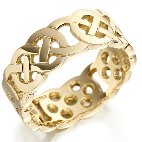 Irish Wedding Ring - Ladies Gold Wide Celtic Knot Wedding Band