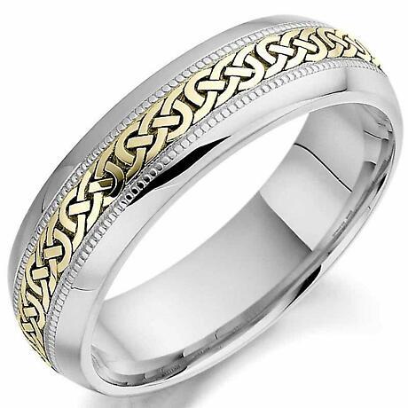 Irish Wedding Ring - Mens White and Yellow Gold Celtic Knot Wedding Band