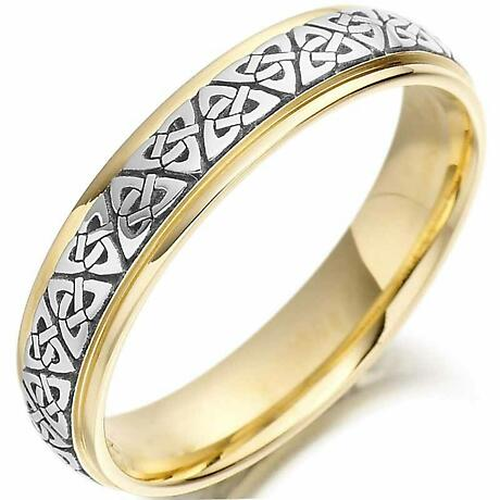 Trinity Knot Wedding Ring - Mens Two Tone Trinity Celtic Knot Irish Wedding Band