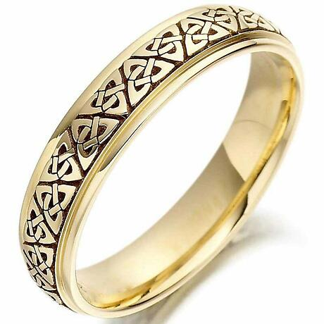 Irish Wedding Ring - Mens Gold Trinity Knot Celtic Wedding Band