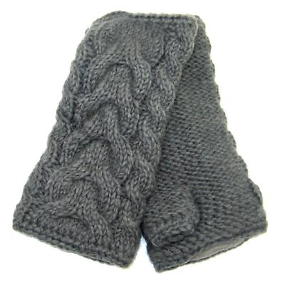 Irish Wool Handwarmers Aran - Charcoal