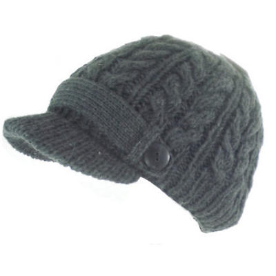 Irish Hat - Wool Aran Ladies Irish Hat with Peak - Charcoal