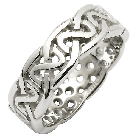 Irish Wedding Ring - Celtic Knot Pierced Sheelin Mens Wedding Band