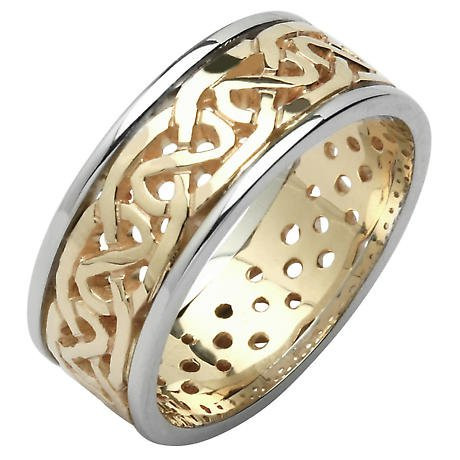 Irish Wedding Ring - Ladies Celtic Knot Pierced Sheelin Wedding Band Yellow Gold with White Gold Rims