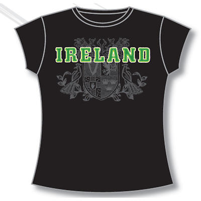 Irish T-Shirt - Ladies 4 Provinces of Ireland (Black)