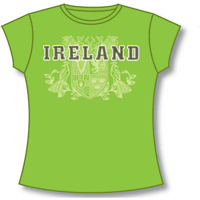 Irish T-Shirt - Ladies 4 Provinces of Ireland (Lime Green)