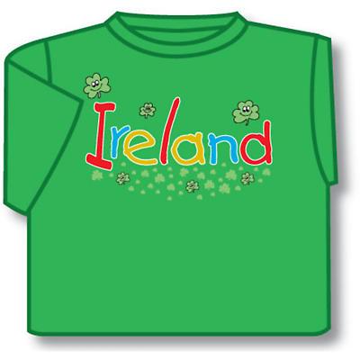 Kids Smiling Shamrocks Ireland Irish T-Shirt - Green
