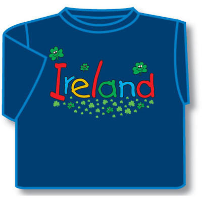 Kids Smiling Shamrocks Ireland Irish T-Shirt - Blue