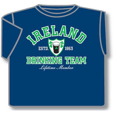 Irish T-Shirt - Ireland Drinking Team (Blue)