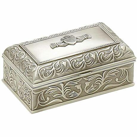 Irish Pewter Claddagh Jewelry Box Large