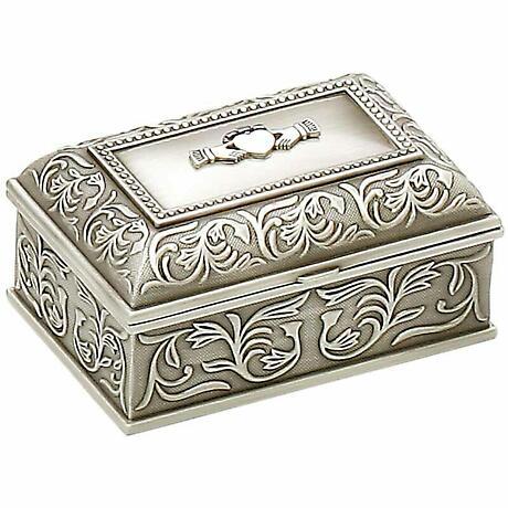 Irish Pewter Claddagh Jewelry Box Medium