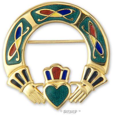 Celtic Brooch - Enamel Celtic Claddagh Brooch