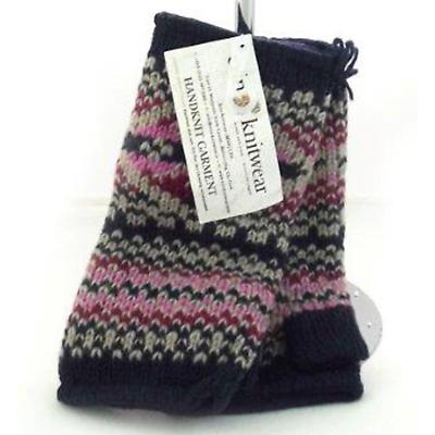 Irish Wool Handwarmers - Blue Pink
