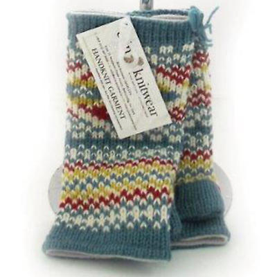Irish Wool Handwarmers - Turquoise Yellow