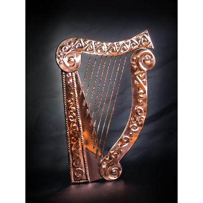 Copper Celtic Harp Wall Plaque
