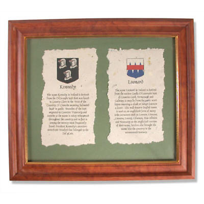 Double Family Crest and History Framed Print