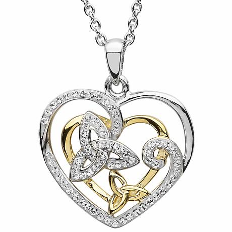 Irish Necklace | Sterling Silver & Gold Celtic Swirl Trinity Knot Pendant