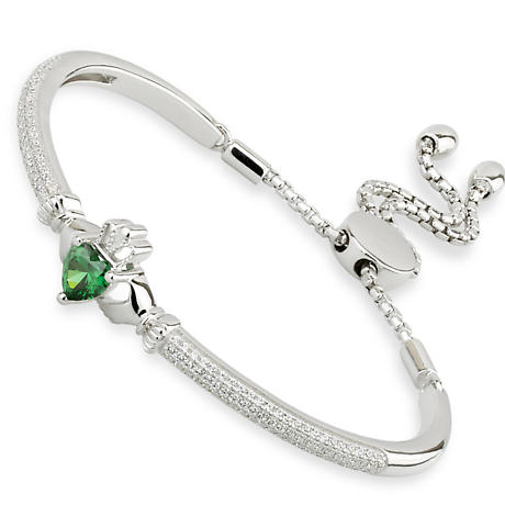 Irish Bracelet | Sterling Silver Green Crystal Draw String Claddagh Bangle