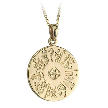 Irish Necklace - 14k Gold History of Ireland Disc Pendant