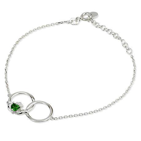 Irish Bracelet - Sterling Silver Crystal Claddagh Bracelet